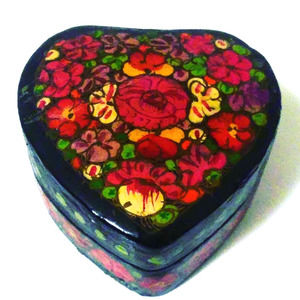 Wooden Heart Shaped Box for Trinkets and Jewelry